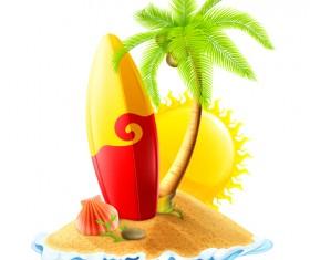Sea island summer holiday elements vector background 02