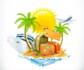 Sea island summer holiday elements vector background 04