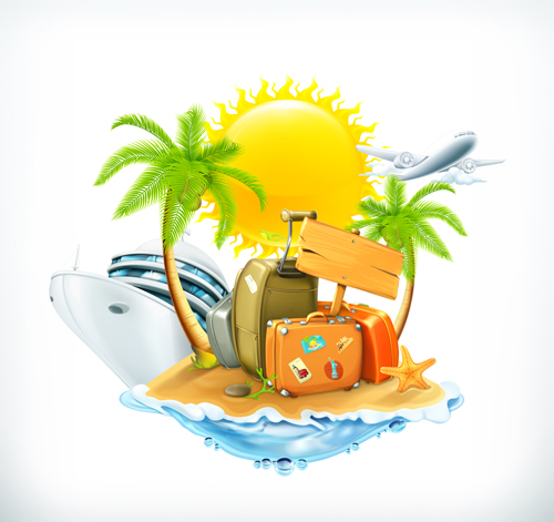 Sea island summer holiday elements vector background 04 ...