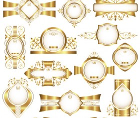 Shiny gold framed labels ornament vector 02