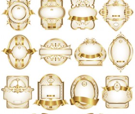 Shiny gold framed labels ornament vector 03