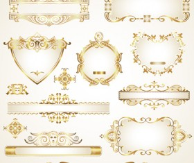 Shiny gold framed labels ornament vector 04