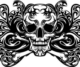 Skull tattoo ornament vector material