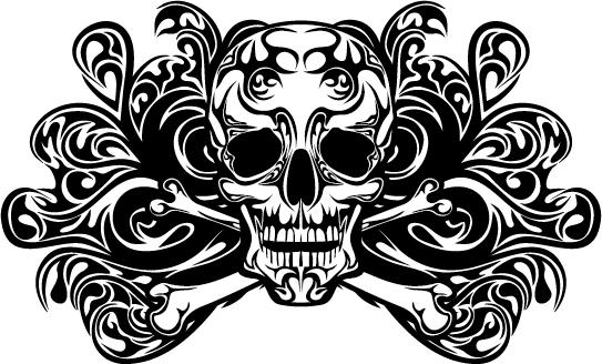 skull tattoo ornament vector material vector ornament free download. Black Bedroom Furniture Sets. Home Design Ideas