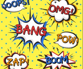 Speech bubbles cartoon explosion styles vector set 01