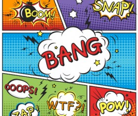 Speech bubbles cartoon explosion styles vector set 02