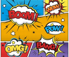Speech bubbles cartoon explosion styles vector set 03