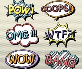Speech bubbles cartoon explosion styles vector set 04