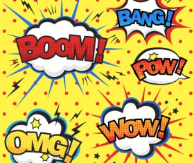 Speech bubbles cartoon explosion styles vector set 05