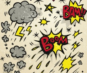 Speech bubbles cartoon explosion styles vector set 06