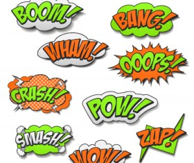 Speech bubbles cartoon explosion styles vector set 07