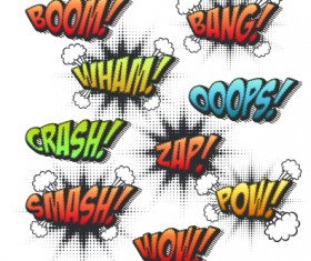 Speech bubbles cartoon explosion styles vector set 08