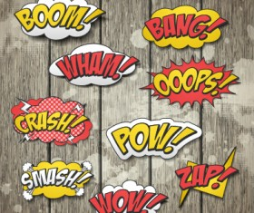 Speech bubbles cartoon explosion styles vector set 09