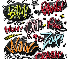Speech bubbles cartoon explosion styles vector set 10