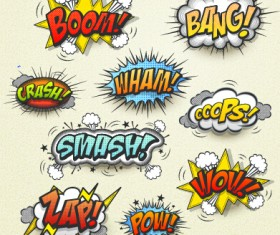 Speech bubbles cartoon explosion styles vector set 12