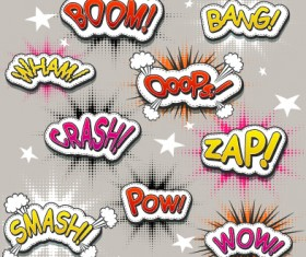 Speech bubbles cartoon explosion styles vector set 13