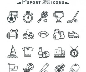 Sport icons black outline vector