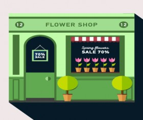 Stores with long shadow flat vector material 02