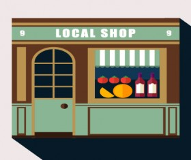Stores with long shadow flat vector material 03