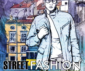 Street stylish everywhere hand drawing background vector 01