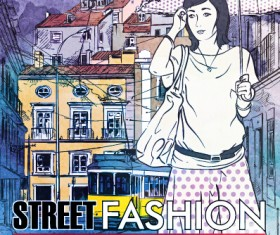 Street stylish everywhere hand drawing background vector 03
