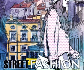 Street stylish everywhere hand drawing background vector 04