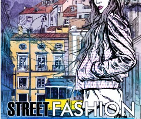 Street stylish everywhere hand drawing background vector 06