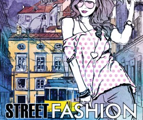 Street stylish everywhere hand drawing background vector 07