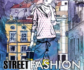 Street stylish everywhere hand drawing background vector 08