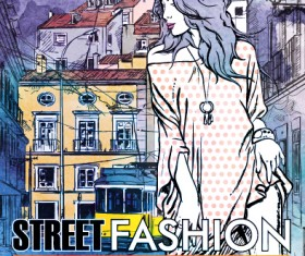Street stylish everywhere hand drawing background vector 10