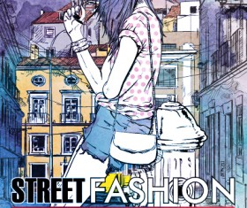 Street stylish everywhere hand drawing background vector 11