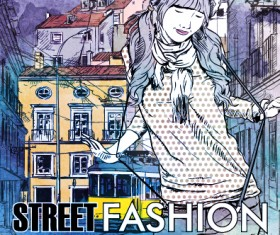 Street stylish everywhere hand drawing background vector 12