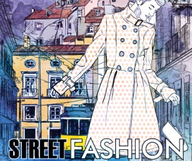 Street stylish everywhere hand drawing background vector 13