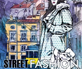 Street stylish everywhere hand drawing background vector 14