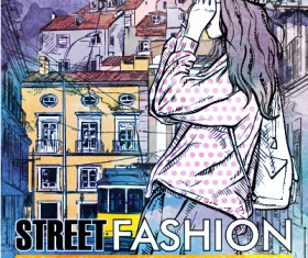 Street stylish everywhere hand drawing background vector 15
