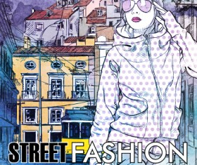 Street stylish everywhere hand drawing background vector 16