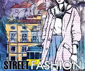 Street stylish everywhere hand drawing background vector 17