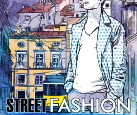 Street stylish everywhere hand drawing background vector 18