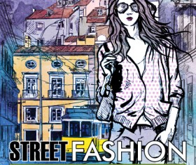 Street stylish everywhere hand drawing background vector 19