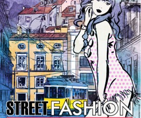 Street stylish everywhere hand drawing background vector 20