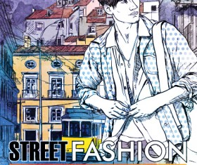 Street stylish everywhere hand drawing background vector 21