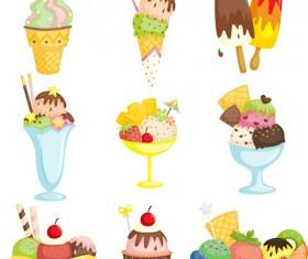 Summer delicious ice cream set vector 01