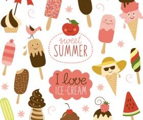 Summer delicious ice cream set vector 05