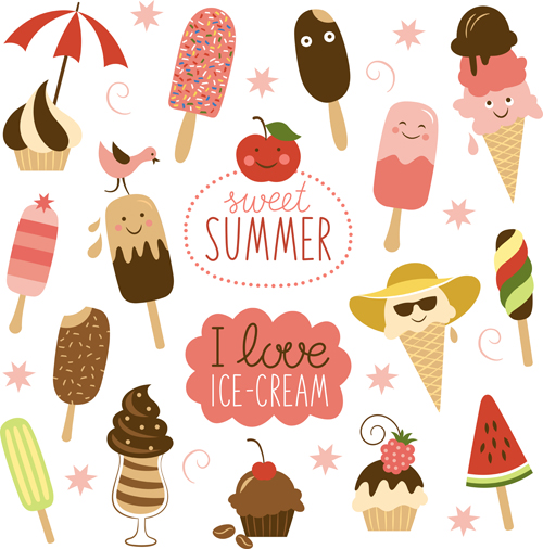 Summer delicious ice cream set vector 05