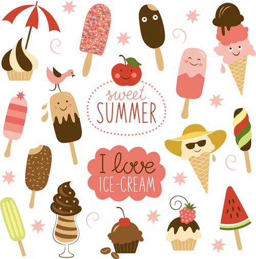 Summer Ice Cream Wallpaper: Summer Delicious Ice Cream Set Vector 05