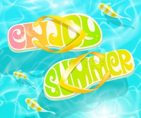 Summer holiday slippers background vector 01