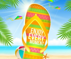 Summer holiday slippers background vector 02
