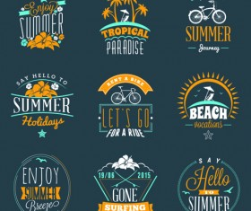Summer holidays logos creative vector material 04