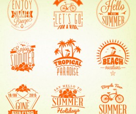 Summer holidays logos creative vector material 05