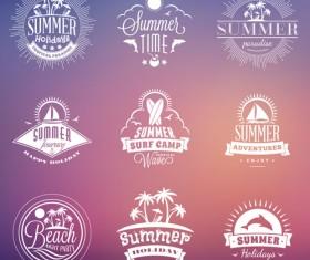 Summer holidays logos creative vector material 06